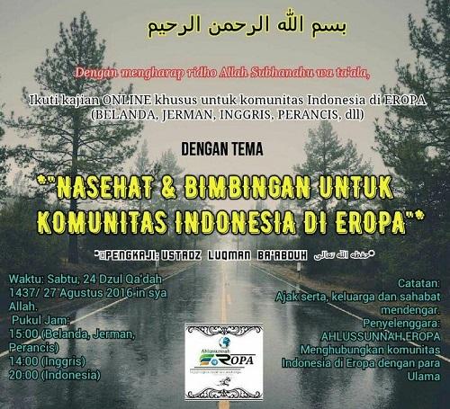 [AUDIO]: Nasehat dan Bimbingan Untuk Komunitas Indonesia di Eropa