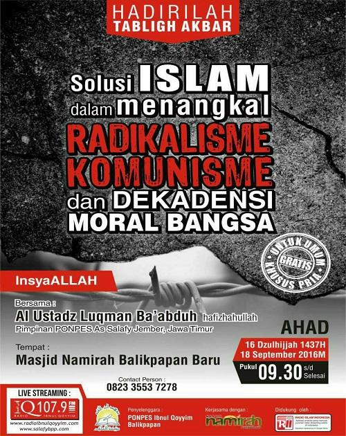 [AUDIO]: Solusi ISLAM Dalam Menangkal RADIKALISME, KOMUNISME dan DEKADENSI MORAL BANGSA