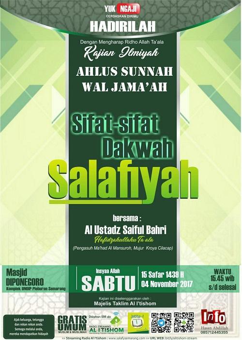 [AUDIO]: Sifat-sifat Dakwah Salafiyah
